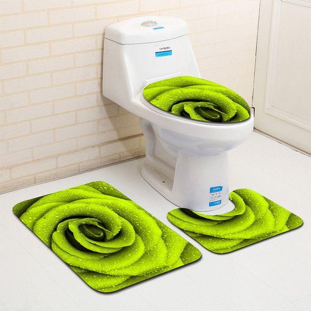 Beautiful Petals 3 Piece Bathroom Mat Sets Bathroom Toilet Cover