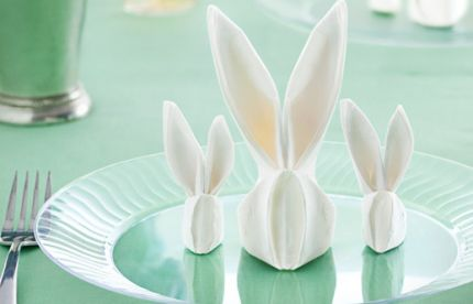 Need a last minute idea for adding a little fun and jazz to the Easter table? The folks at Chinet have a great video and printable step by step tutorial to show you how to make these super cute folded bunny napkins. Happy Easter! Go here for the video and printable — Napkin Folding   MyChinet.com.