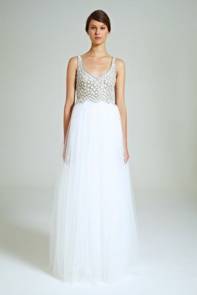 Collette Dinnigan Snow Drops Beaded Bodice Tulle Gown