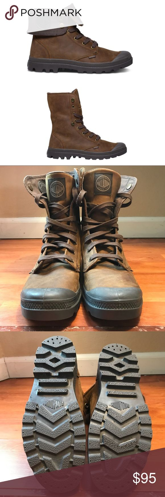 Palladium boots- Baggy Leather Waterproof Used, in great condition. Worn once. These are tough and very versatile boots. Price reflects any defects, item is sold as is. Feel free to ask any questions. Make a reasonable offer. Palladium Shoes Boots
