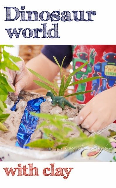 Clay play and dinosaurs - a fantastic activity for boys! Creating the small world with clay is a great sensory experience, and my boys loved the imaginative role play with the dinosaurs.
