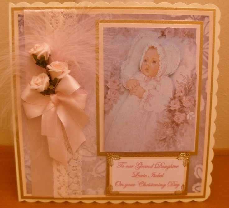 vintage christening card with feather and roses