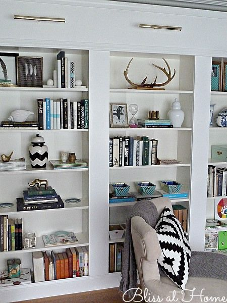 Built-in library wall using IKEA Billy Bookcases