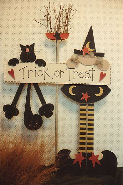 cute halloween wood craft with black cat and witch