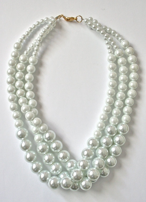 Audrey Necklace glass pearls 18 by abeautifulheartshop on Etsy, $35.00