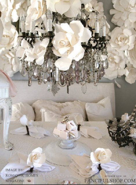 Huge Paper Flowers - Hand Torn French Paper Flowers - As seen on The Martha Stewart Show. $75.00, via Etsy.