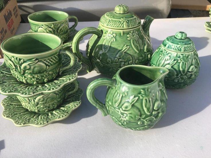 Bordallo Pinheiro Green Rabbit Bunny Teapot, Sugar Creamer 4 Cups Saucers  | eBay