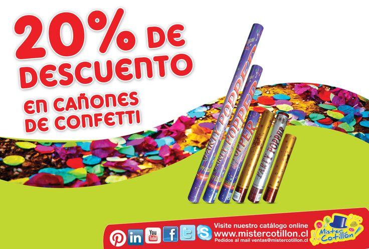 TODOS LOS CAÑONES DE CONFETTI CON 20% DE DESCUENTO!! SI!! SOLO POR ESTA SEMANA TODOS LOS CAÑONES DE CONFETTI TIENEN UN 20% DE DESCUENTO EN TODAS NUESTRAS TIENDAS MISTER COTILLON DE SANTIAGO Y LA QUINTA REGIÓN SOLO DESDE ESTE LUNES 3 AL DOMINGO 9 DE MARZO!! NO LO OLVIDES TE ESPERAMOS!!  (Descuento no incluye pack cañon de confetti 2 x $1.000 y 3 x $1.000 ya que están con un descuento mayor aplicado), No valido con otras promociones.