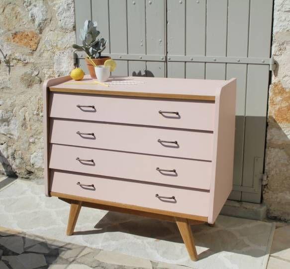 commode vintage en bois massif rose poudr bricolage. Black Bedroom Furniture Sets. Home Design Ideas