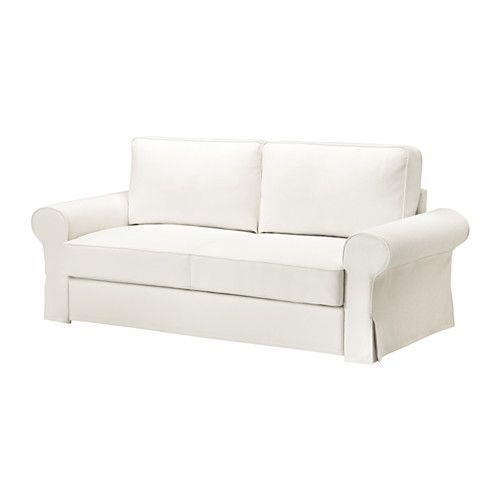 IKEA - BACKABRO, 3er-Bettsofa, Hylte weiß, -, , Taschenfedern entlasten den Körper und tragen zur ausgeglichenen Lage der Wirbelsäule bei.Bezug aus robuster, strapazierfähiger Baumwoll-Polyester-Mischung mit deutlicher Struktur.Eine feste Matratze, die gut stützt und für allnächtliche Benutzung geeignet ist.Aufbewahrungsmöglichkeit unter der Sitzfläche für Bettzeug o. Ä.Leicht sauber zu halten - der abnehmbare Bezug kann in der Maschine gewaschen werden.