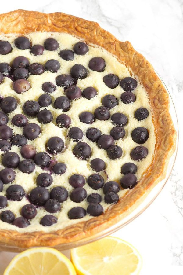 Lemon Blueberry Custard Pie recipe - from RecipeGirl.com