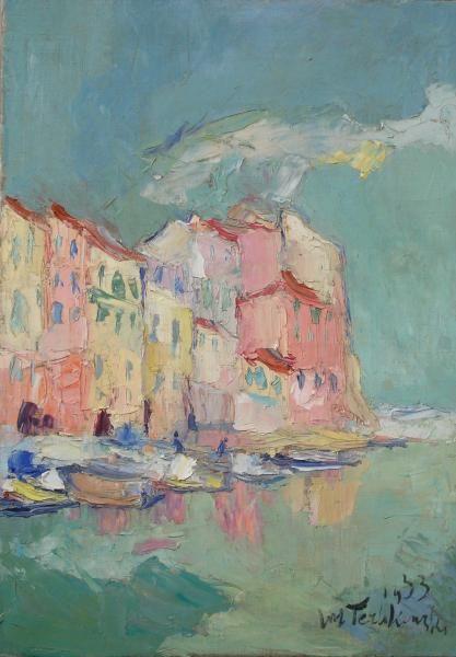 Włodzimierz TERLIKOWSKI,Pejzaż z Villefranche-sur-Mer, 1933, olej, płótno, 48 x 34 cm