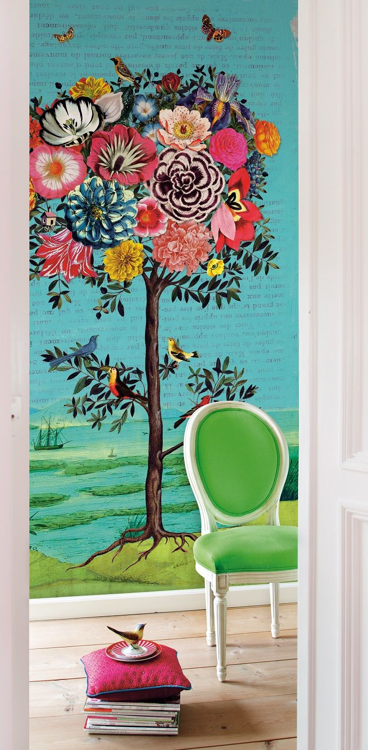489 best pip studio images on pinterest wall floral wallpapers e341100 wallpaper mural featuring giant flower tree with birds and butterflies by pip studio for