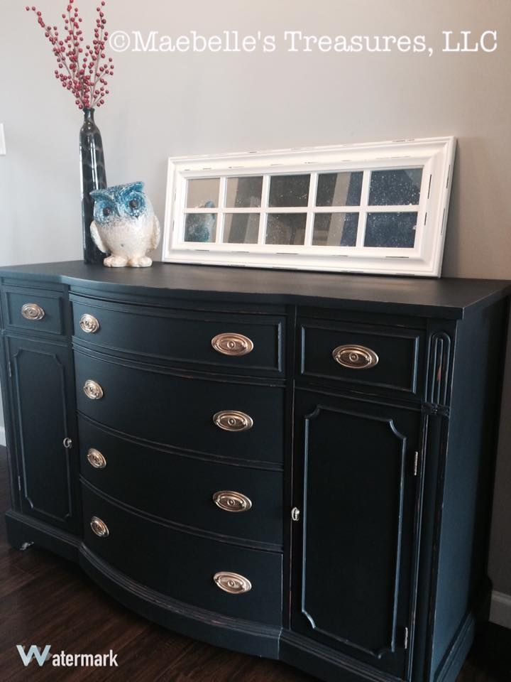 #wiseowlpaint #black #buffet #polyvine #furniture #makeover #chalkpaint