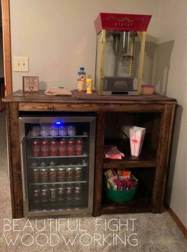 Mini Fridge Table Game Room Basement Home Theater Rooms Finishing Basement