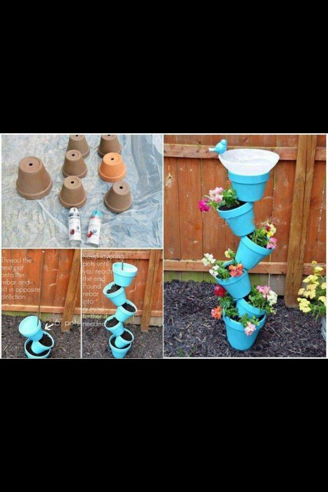 Stacked flower pot tower