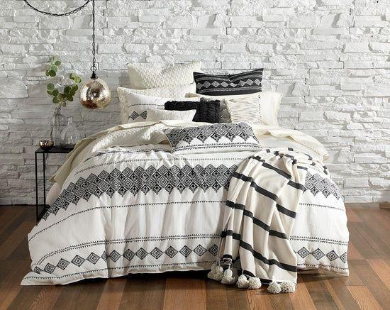 Boho Chic Comforter Set Ivory Ground W Black Embroidery