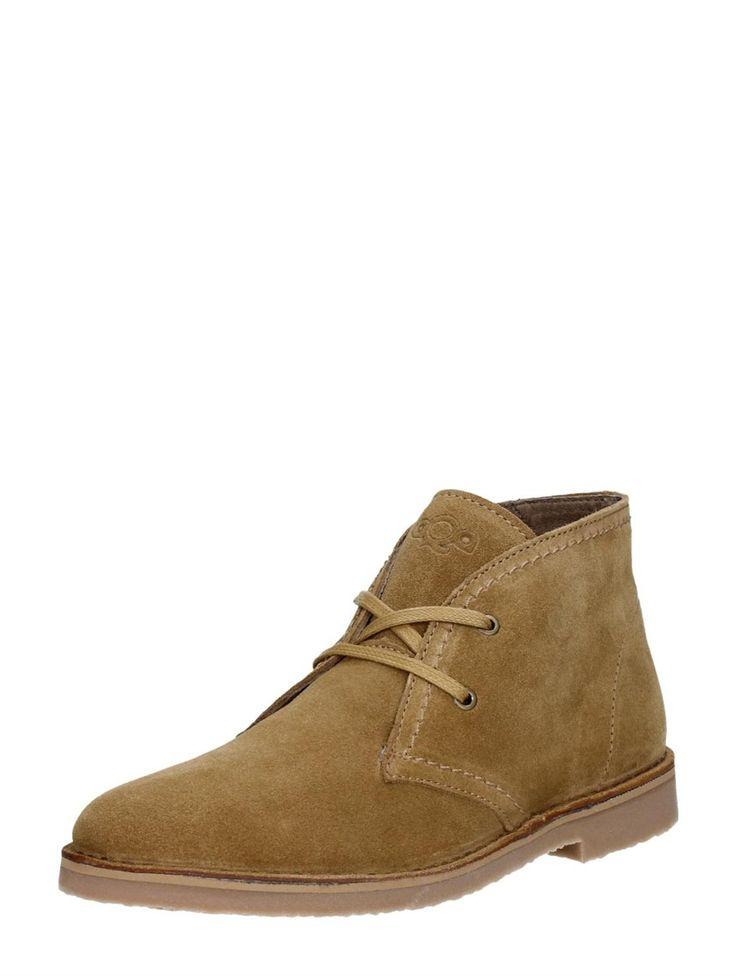AQA hoge dames veterschoenen van suede Desert Boots - donkerbruin / cognac