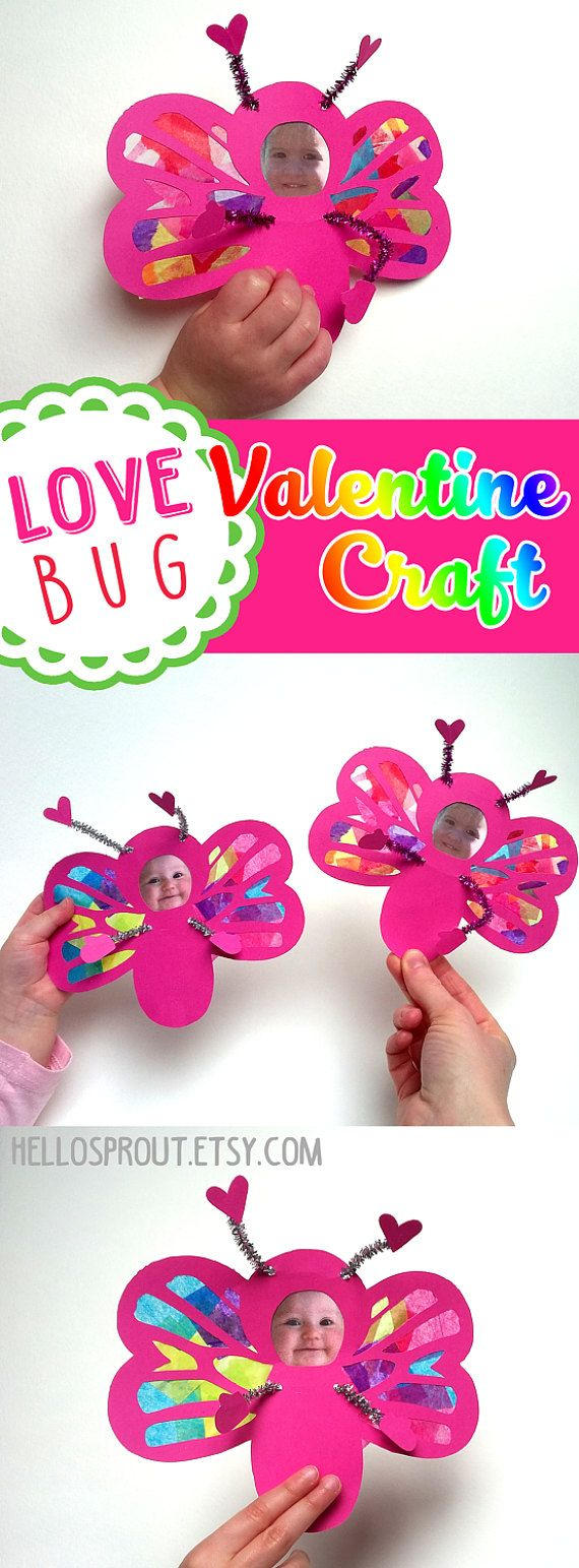 Love Bug Valentine with your own photo! Great kids arts and crafts project for Valentine's Day!  Stained Glass Suncatcher Kit by HelloSprout