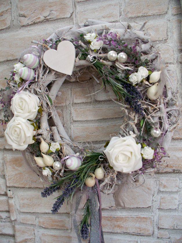 Türkränze - Türkranz XL,Lavendel+Rosen,Frühling,Landhaus,weiß - ein Designerstück von die-mit-den-blumen-tanzt bei DaWanda