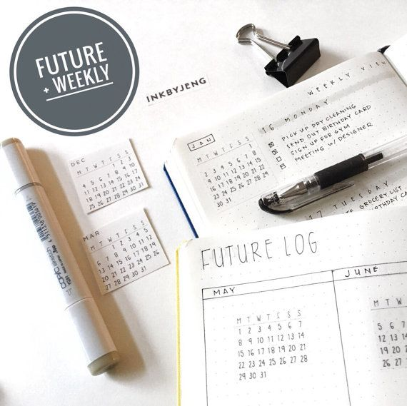 Bullet Journal Sticker Kit   Monthly Calendars for 2017 Clear Matte Stickers   Monday Start