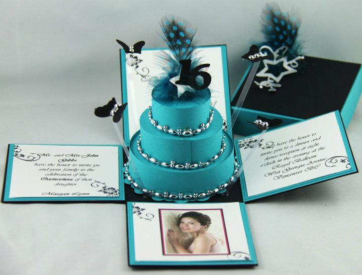 Elegant & Modern Sweet 16 Exploding Box invitations with 3-Tier Cake and floating butterflies surrounding the cake.