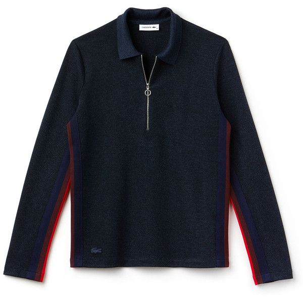 Lacoste Women's Regular Fit Zip Neck Polo With Contrast Sleeves (515 BRL) ❤ liked on Polyvore featuring tops, polos polos, blue top, polo tops, lacoste tops, blue long sleeve top and zip top