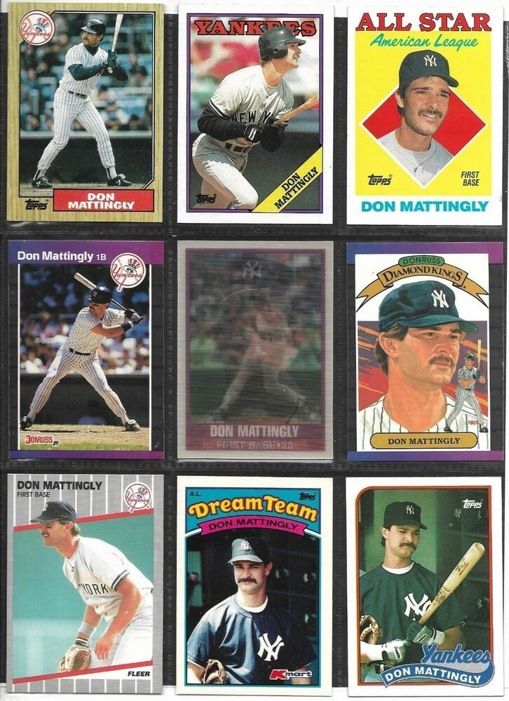 Don Mattingly Baseball Card Lot Of 9 Different Cards 1987 1989 New York Yankees Newyorkyankees In 2020 Baseball Cards Don Mattingly New York Yankees