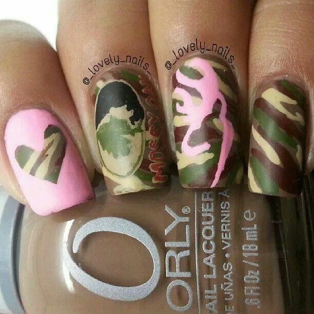 Very cute camo nails.i so need to get my nail done like this