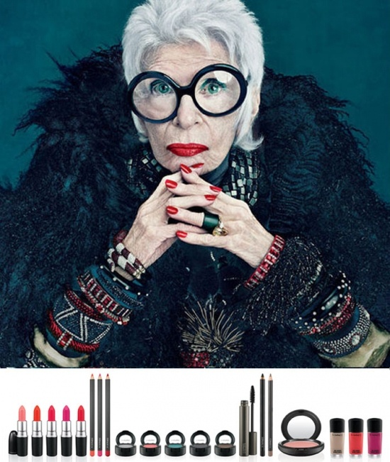 """It's here! It's here! Iris Apfel for MAC Cosmetics ...    The feather-loving 90 year old, on clothes, """"What the hell, if they don't fit, I'll turn them into pillows"""". My kind of lady."""