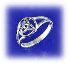 """Triquetra Ring - At last! We've found a finger ring with the triquetra symbol on it! Cut out design features a three-part knot inside a circle. Ring is 3/8"""" across at its widest point, and just under an 1/8' at the narrowest."""