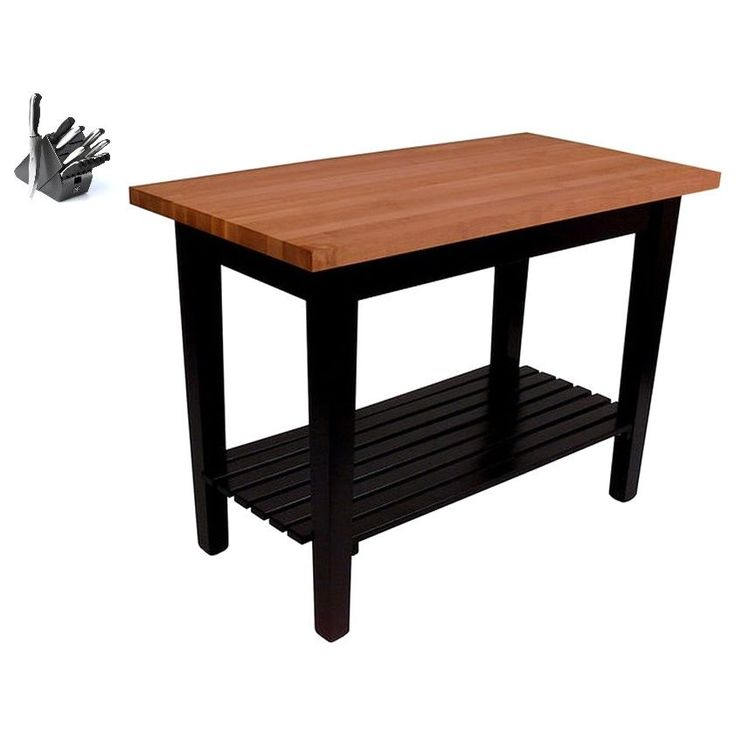 John Boos Cherry RN-C3624-D-S Butcher Block Table 36x24 with Shelf and Bonus 13-piece Henckels Knife Set