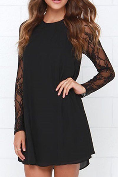 Lace Splicing Black Long Sleeves Dress BLACK: Long Sleeve Dresses | ZAFUL