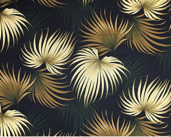 Kailua Black Tropical Hawaiian Palm Ferns pattern on nubby bark cloth. Add Discount code: (Pin10) in comment box at check out for 10% off sub total at BarkclothHawaii.com