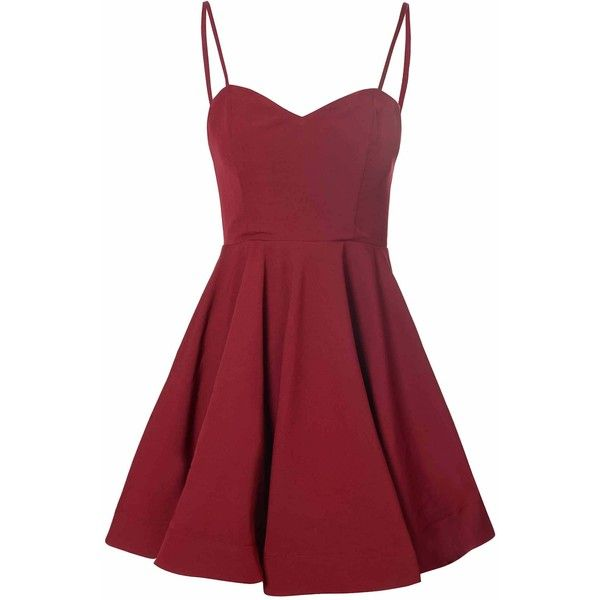 Burgundy Full Skirt Dress (£32) ❤ liked on Polyvore featuring dresses, burgundy, vintage style dresses, red sweetheart dress, red spaghetti strap dress, burgundy dress and red cocktail dress
