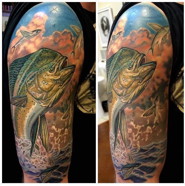 Tribal mahi mahi tattoos
