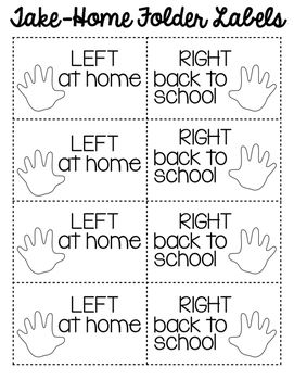 """Organize your take-home folders and parent/teacher communication with these labels while at the same time reinforcing """"left"""" and """"right"""" for your young learners. Parents will easily be able to tell to keep the papers on the left side of the folder at home and to send the papers on the right side back to school!"""