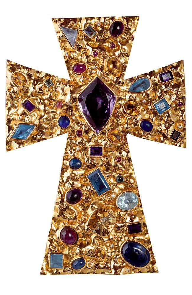 Byzantine Style Cross ~ Cruz Spiritual Enlightenment - unique piece in gold with sapphires, rubies, diamonds, emeralds, aquamarine, beryl, lapis lazuli and tourmalines