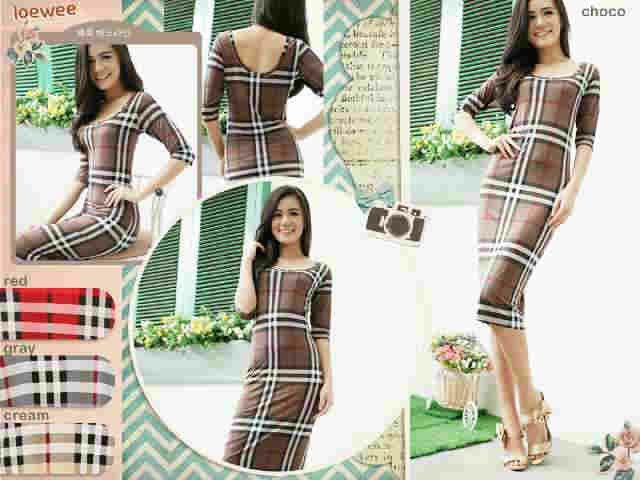 Bodycon burbery dres Bahan: jersey Size: fit L Hrg: 70rb  Invite pin: 26BCB119 SMS: 089660776162
