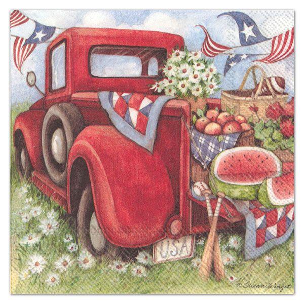 Ihr Red Truck Pickup Paper Luncheon Napkins Red Truck