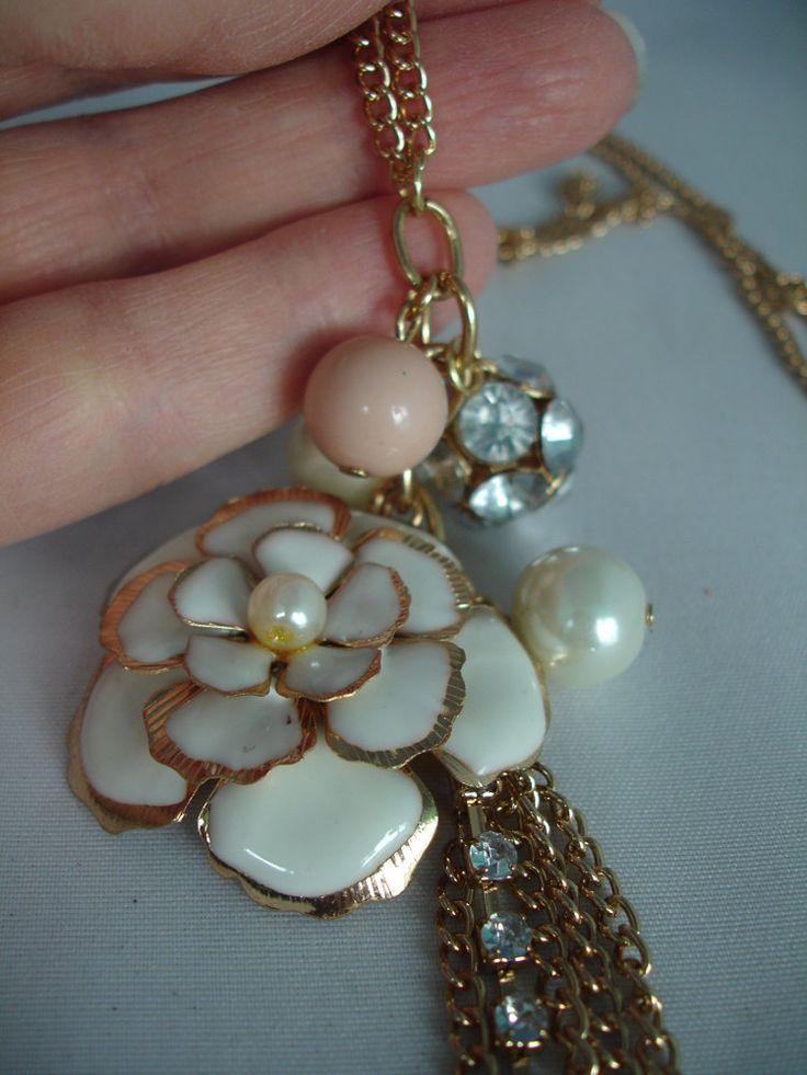 White Rose Enamel Pendant Necklace - Long, Golden, Rhinestone, Acrylic, Glass, Metal - Flower, Bird, Dove, Pearls Chain - White, Cream,