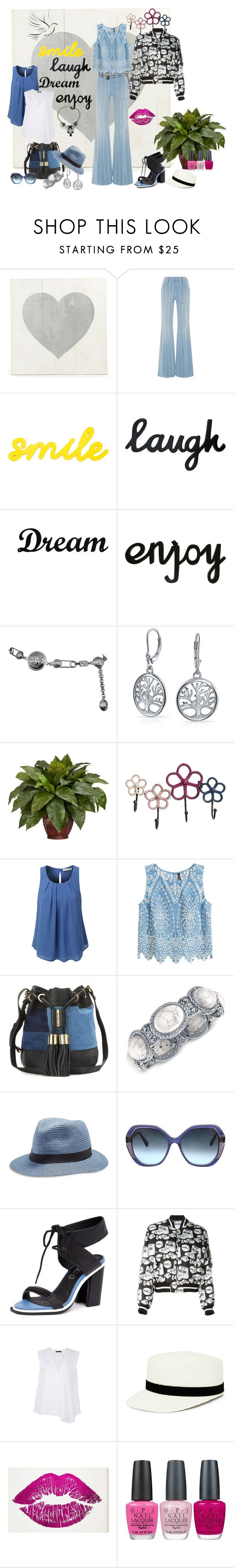 """High Waisted Striped Jeans, Hot Trend Silk Graphic Bomber Jacket, Pattern Mixing and More!"" by angelonboard ❤ liked on Polyvore featuring Frame Denim, Dot & Bo, Versace, Bling Jewelry, Nearly Natural, LE3NO, See by Chloé, 2028, Lucky Brand and Oscar de la Renta"