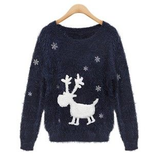 Womens Long Sleeves Cute Deer Pattern Calefaction Round Neck Sweater Navy