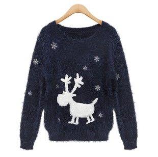 Womens Long Sleeves Cute Deer Pattern Calefaction Round Neck Sweater Navy