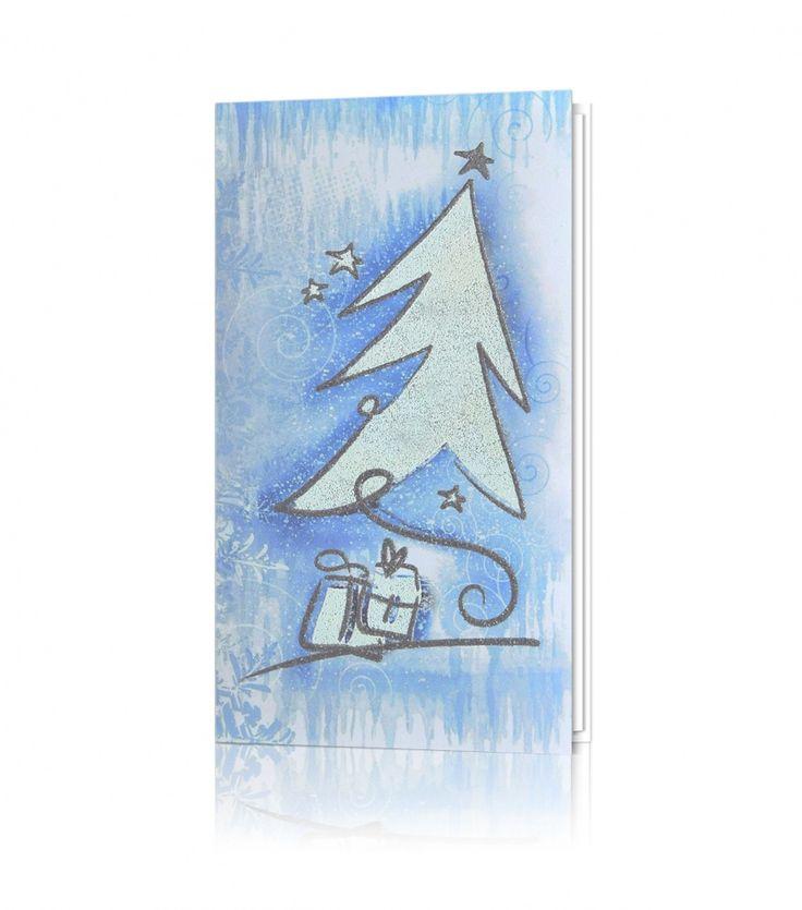 Kartka świąteczna C 366: Biały, niebieski nadruk, biała oraz srebrna błyszcząca termografia.Na kartce dominuje choinka.  W tle widnieją motywy świąteczne.