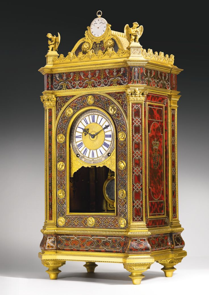 THE DUC D'ORLÉANS BREGUET SYMPATHIQUE THE DUC D'ORLÉANS BREGUET SYMPATHIQUE BREGUET, NOS.128 AND 5009, DATED 1835 A UNIQUE AND HIGHLY IMPORTANT ORMOLU-MOUNTED RED TORTOISESHELL BOULLE-STYLE, ROYAL SYMPATHIQUE QUARTER STRIKING CLOCK AND HALF-QUARTER REPEATING GOLD WATCH AUTOMATICALLY WOUND, SET AND REGULATED VIA THE CLOCK
