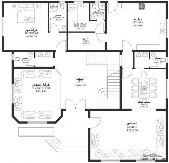 مساقط الفيلا 5 غرف 495 متر مربع طابقين سكن Square House Plans My House Plans Model House Plan