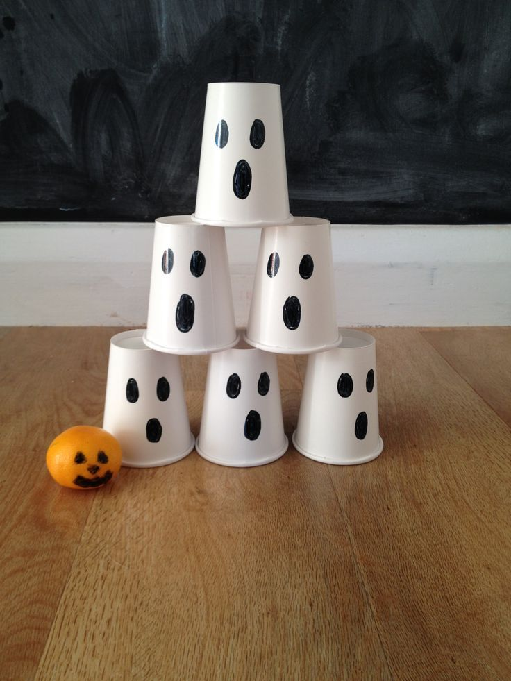 Halloween ghost bowling game with cups