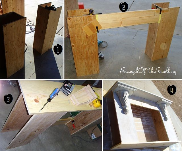 DIY Fireplace Mantel (Step by Step).  I really like this.... Starts from scratch, and you could put shelves in the sides.