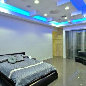 Cool Modern Bedroom With Amazing Blue LED Ceiling Lights